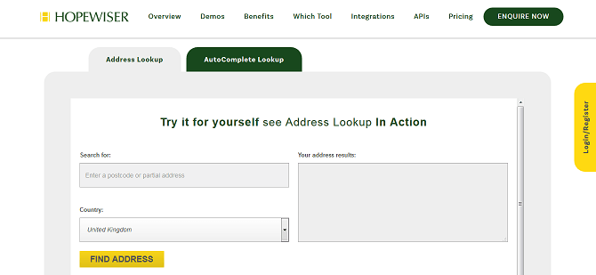 Address Lookup example
