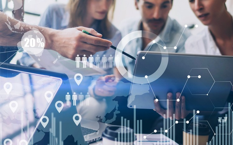 Businesspeople analysing data
